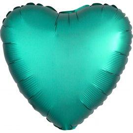 Globo helio corazón satín verde