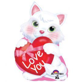 Globo helio gatito corazon