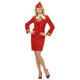 Disfraz asistente de vuelo rojo