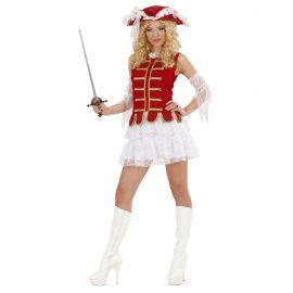 Disfraz mosquetera adulta roja