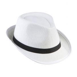 Sombrero ganster blanco cinta negra