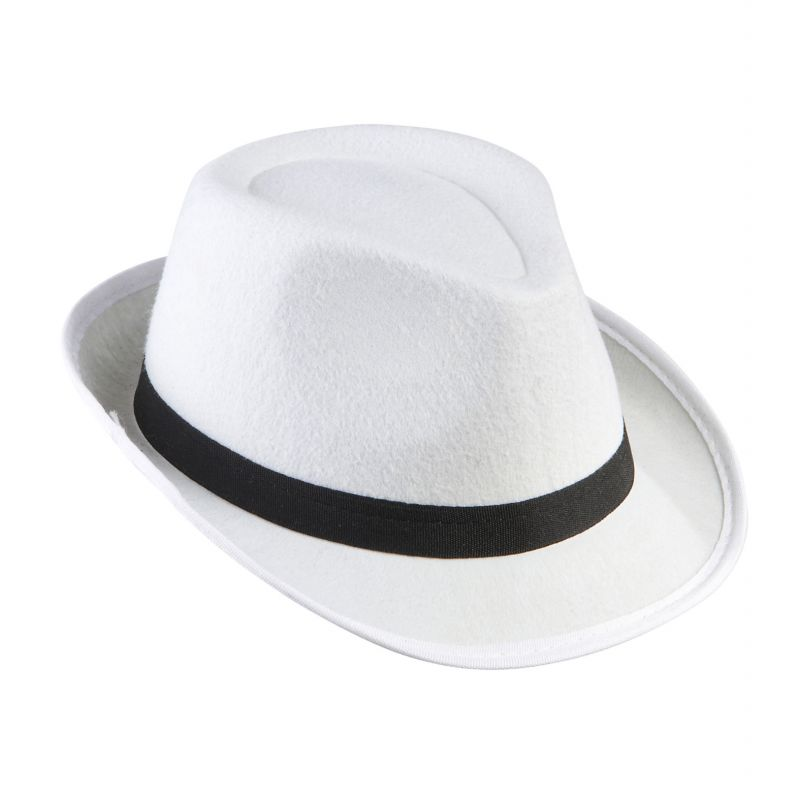 Sombrero ganster blanco cinta negra 89d1440d672