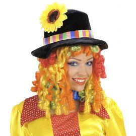 Peluca con sombrero flor