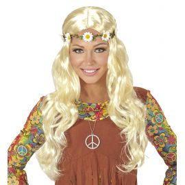 Peluca hippie chica rubia con cinta