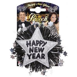 Broche happy new year plata