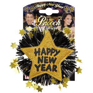 Broche happy new year dorado
