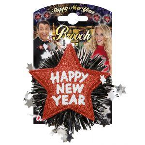 Broche happy new year rojo