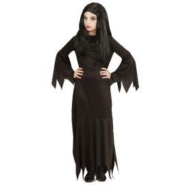 Disfraz morticia negra infantil