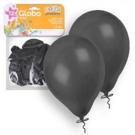 Globos pastel negro 23 cm 12 und