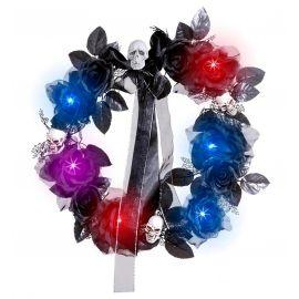 Corona de flores y calaveras luz