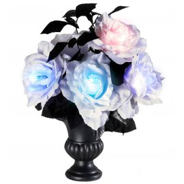Florero 6 rosas blancas luz