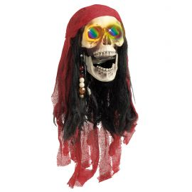 Calavera pirata con luz cambiante 60cm
