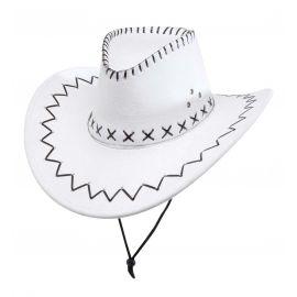 Sombrero vaquero blanco con decoraciones