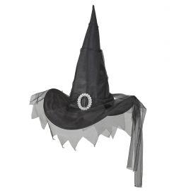 Sombrero bruja negro con tul