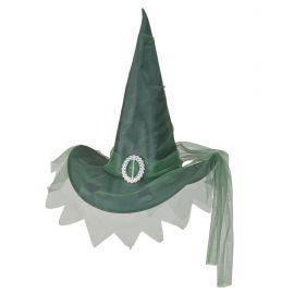 Sombrero bruja verde con tul