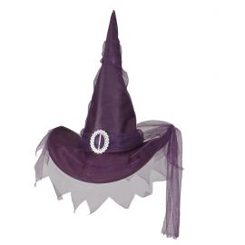 Sombrero bruja violeta tul