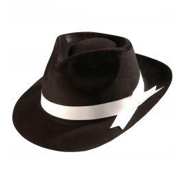 Sombrero ganster lazo blanco flocado