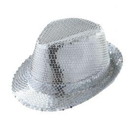 Sombrero fedora plateado lentejuelas