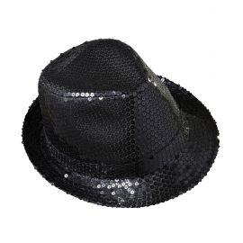 Sombrero fedora negro con lentejuelas