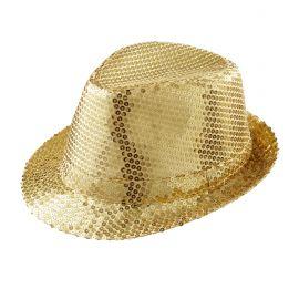 Sombrero fedora dorado con lentejuelas