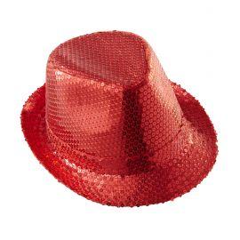 Sombrero fedora rojo con lentejuelas