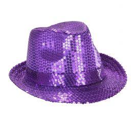 Sombrero fedora violeta con lentejuelas