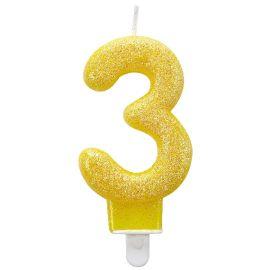 Vela glitter n 3 amarilla