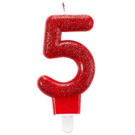 Vela glitter numero 5 roja