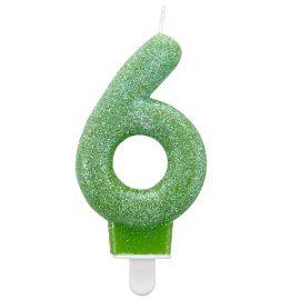 Vela glitter n 6 verde