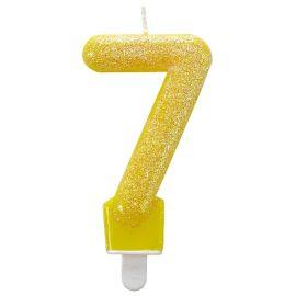 Vela n 6 glitter amarilla