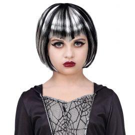 Peluca halloween blanca negra inf