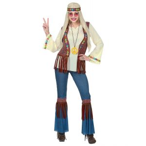 Disfraz hippie chaleco flecos chica