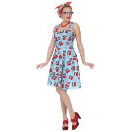 Disfraz años 50 cerezas azul
