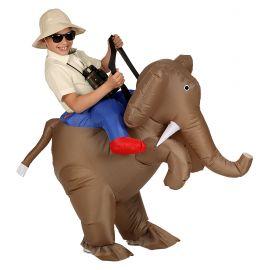 Disfraz explorador sobre elefante inf