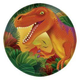 Platos dinosaurios naranjas postre