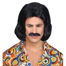 Peluca dandy morena con bigote