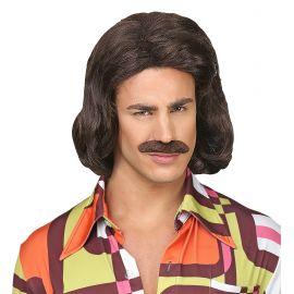Peluca dandy castaña con bigote