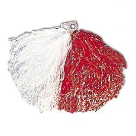 Pom pom blanco y rojo bicolor