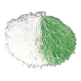 Pom pom blanco y verde bicolor