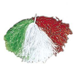 Pom pom tricolor verde blanco y rojo