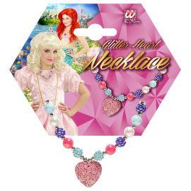 Collar corazon rosa inf