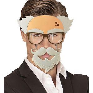 Gafas anciano con bigote y perilla