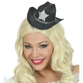 Mini sombrero vaquero negro