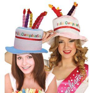 Sombrero tarta cumple feliz rosa azul