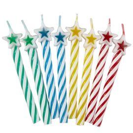 Velas estrellas colores 8 unidades
