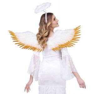 Alas plumas oro y blancas 100x25