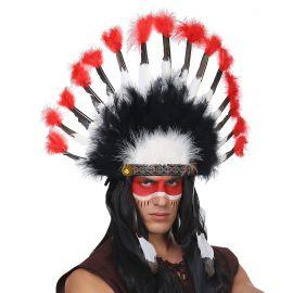 Penacho tocado indio blanco y rojo