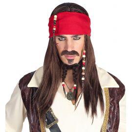 Peluca pirata con banda caribeño