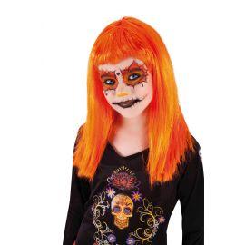 Peluca vampiresa naranja infantil