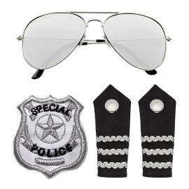 Set policia gafas placa y hombreras
